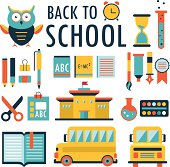 Back to school. Flat design icons set. Part 2