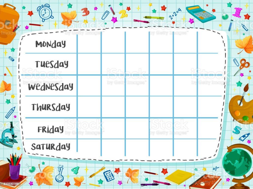 Back to School flat vector timetable schedule vector art illustration