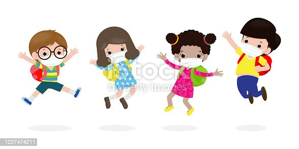istock Back to school for new normal lifestyle concept. happy kids jumping wearing face mask protect corona virus or covid 19, group of children and friends go to school isolated on white background Vector 1227474211