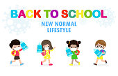 Back to school for new normal lifestyle concept. happy students Cute kids wearing face mask and alcohol gel or Hand wash gel and social distancing protect coronavirus or covid-19 Healthy background