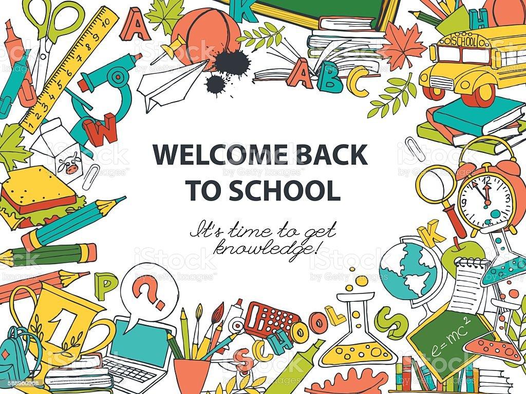 Back To School Frame Border Pattern Of Kids Doodles Royalty Free