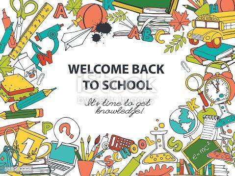 Back To School Frame Border Pattern Of Kids Doodles Stockvectorkunst