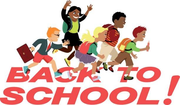 ilustraciones, imágenes clip art, dibujos animados e iconos de stock de volver a la escuela, amigos - regreso a clases