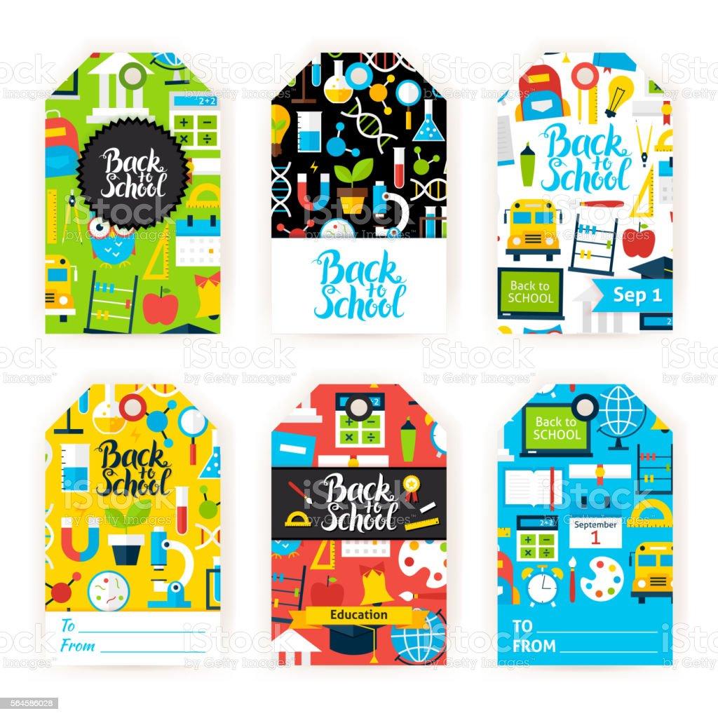 Back to School Gift Label Set - ilustração de arte em vetor