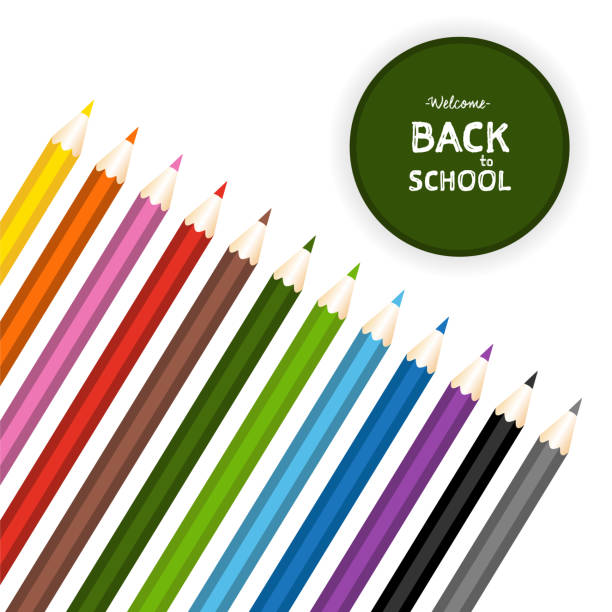 back to school green label with color pencils set. isolated vector illustration - back to school stock illustrations