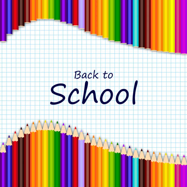 Back to school greeting card with colorful pencils. Vector Back to school greeting card with colorful pencils. Vector. school supplies border stock illustrations