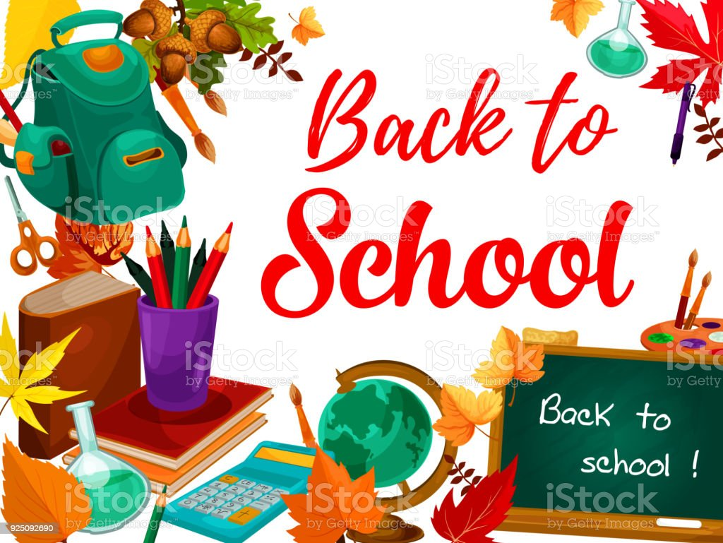 Back to school greeting card with student supplies stock vector art back to school greeting card with student supplies royalty free back to school greeting card m4hsunfo