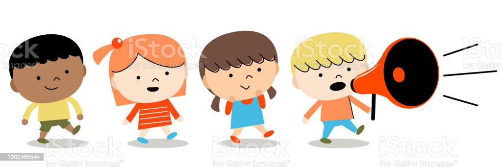 Back to school: group of children boys and girls walking with megaphone vector art illustration