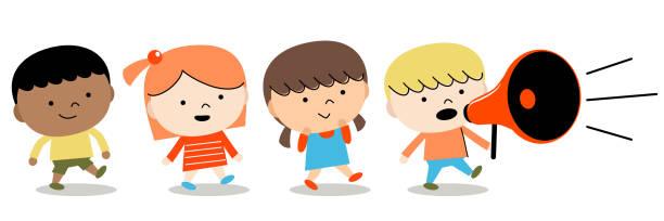 stockillustraties, clipart, cartoons en iconen met terug naar school: groep van kinderen jongens en meisjes lopen met megafoon - kinderdag
