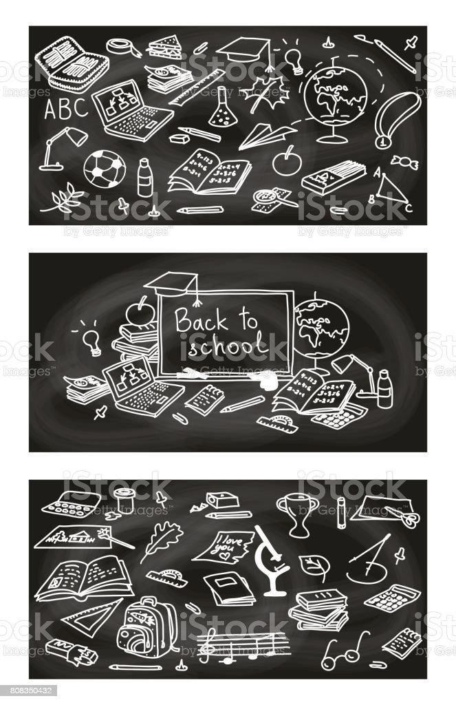 Zurück Zur Schule Hand Gezeichnete 3 In 1 Set Skizzieren Doodle ...