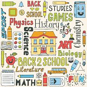 Back to school hand drawn colorful set. Vector illustration.