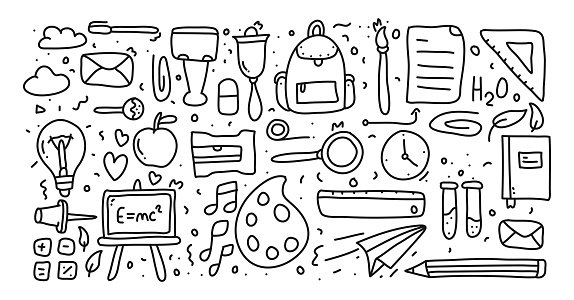 Back To School hand drawn, doodle and vector illustration icons set
