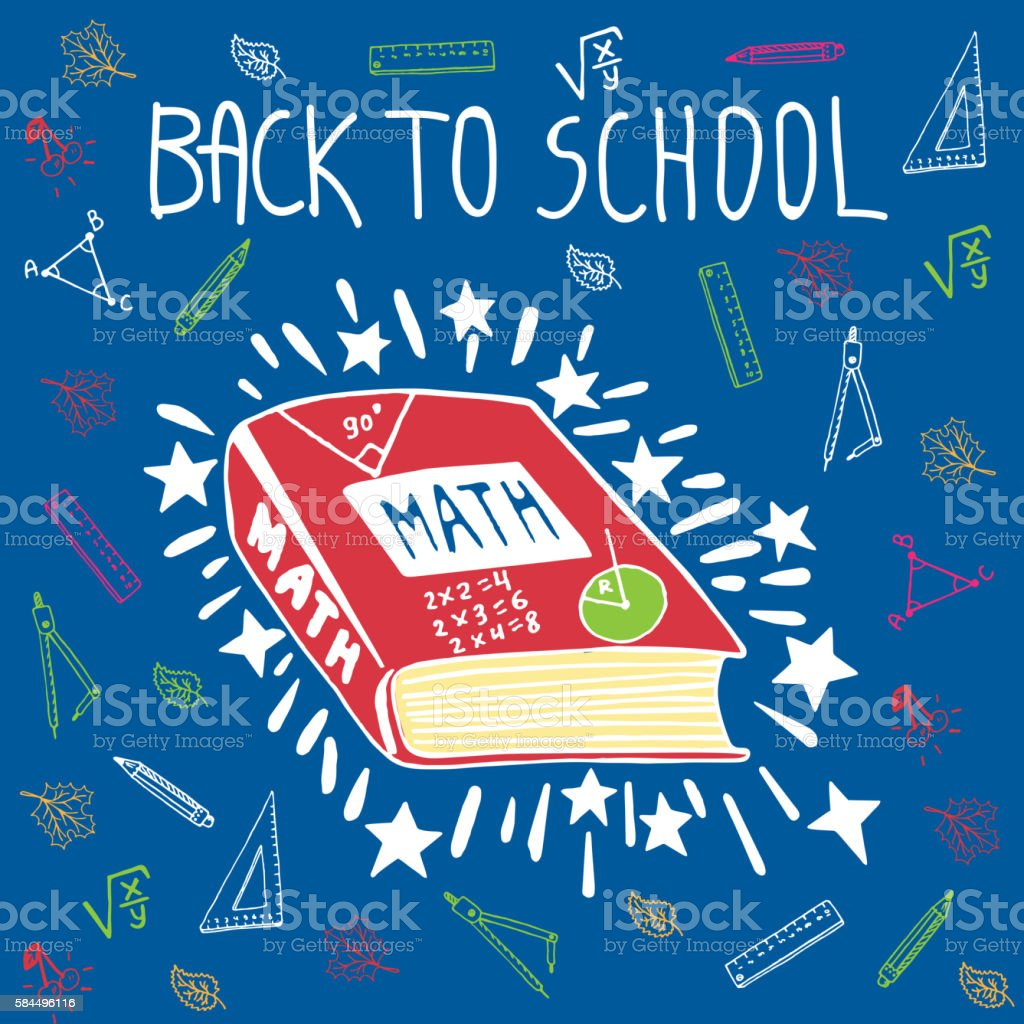 Back To School Hand Drawn Doodle Card With Math Textbook Stock ...