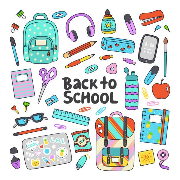 stockillustraties, clipart, cartoons en iconen met terug naar school hand getrokken platte vector set. onderwijs iconen, design elementen in cartoon stijl. - schoolspullen