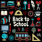 Back to school hand drawn icons