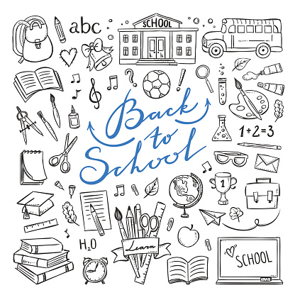 Back to school hand drawn icons. Vector illustrations for school life