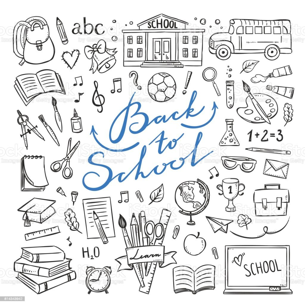 Back to school hand drawn icons. Vector illustrations for school life vector art illustration