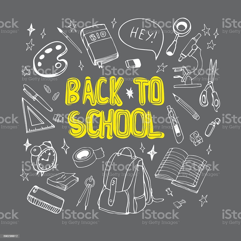 Back to school hand drawn illustration  drawn on chalkboard. royaltyfri back to school hand drawn illustration drawn on chalkboard-vektorgrafik och fler bilder på bag