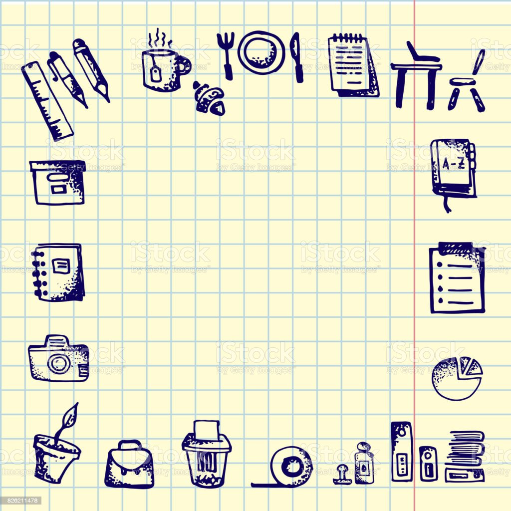Back To School Hand Drawn School Icons And Symbols On Notebook Page