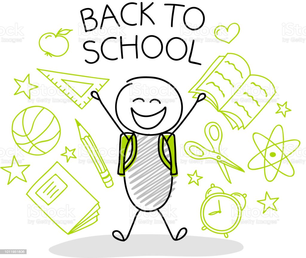 Back to school - hand drawn stickman with school accessories. Vector.