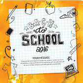 Vector illustration of a Back to school hand lettered text design elements on watercolor.