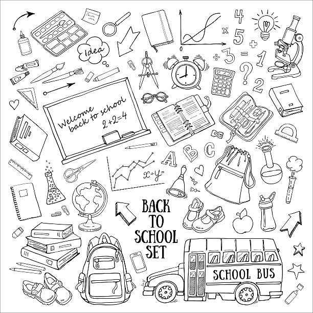 back to school hand-drawn doodles set with supplies, schoolbus - high school stock illustrations, clip art, cartoons, & icons
