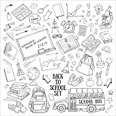 Back to school hand-drawn doodles set with supplies, schoolbus