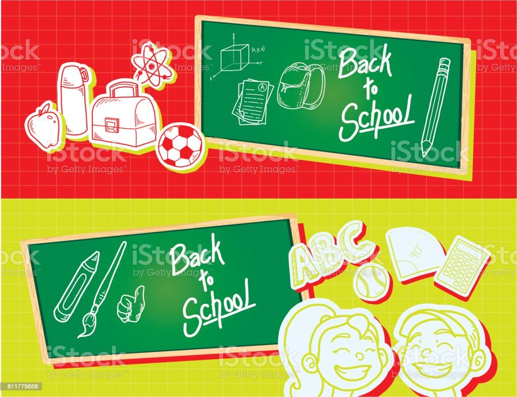 Back to school horizontal banner design templates with icons
