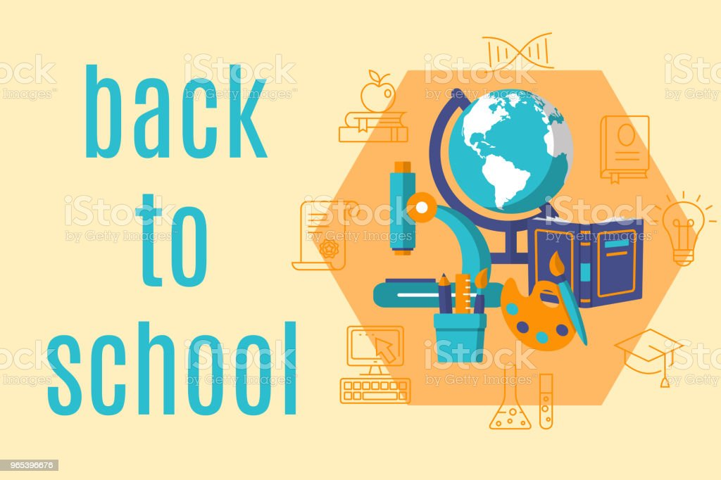 Back to school horizontal flat banner royalty-free back to school horizontal flat banner stock vector art & more images of back