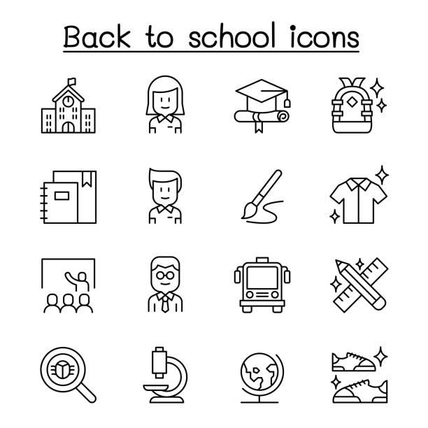 stockillustraties, clipart, cartoons en iconen met terug naar school icon set in dunne lijnstijl - schooluniform
