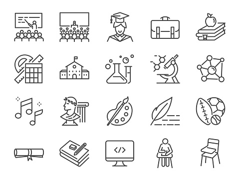 Back to school icon set. Included the icons as education, study, lectures, course, university, book, learn and more
