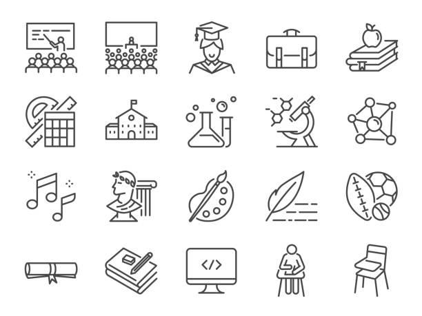 stockillustraties, clipart, cartoons en iconen met terug naar school pictogramserie. de pictogrammen opgenomen als onderwijs, onderzoek, lezingen, cursus, universiteit, boeken, leren en meer - geschiedenis