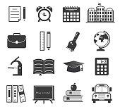 Back to school icon set on white