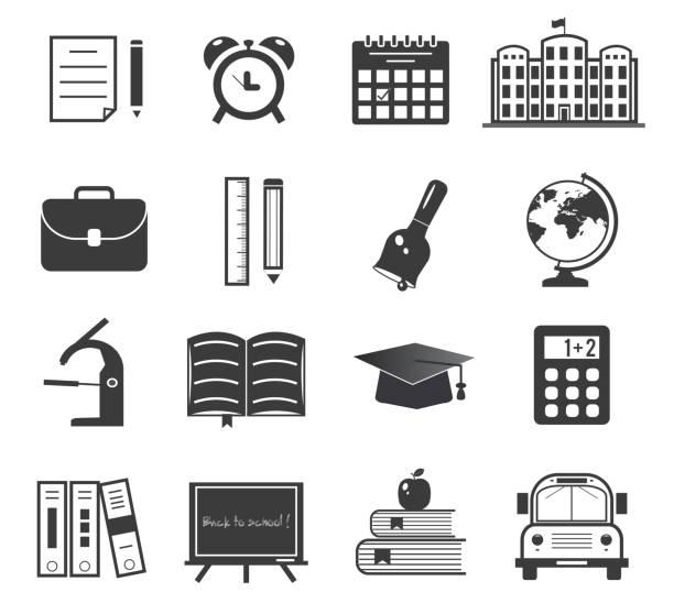 powrót do szkoły zestaw ikon - back to school stock illustrations