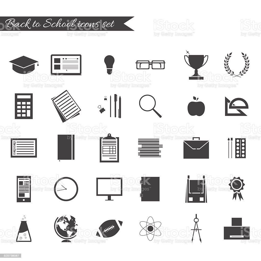 Back to school icon set vector art illustration
