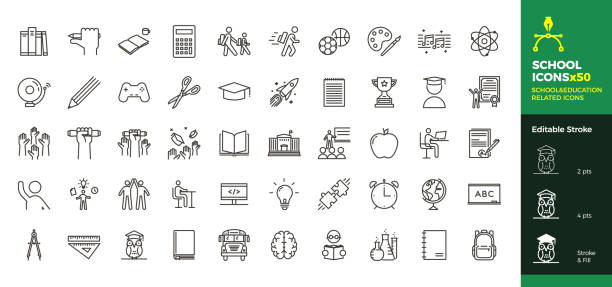 Back to school icon set with 50 different vector icons related with education, success, academic subjects and more. Editable stroke for your own needs. Vector eps10 students stock illustrations