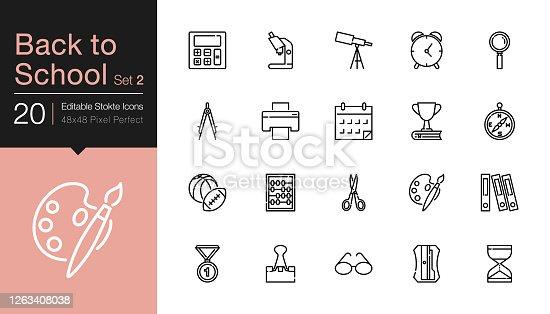 Back to school icons set 2. Modern line design. For presentation, graphic design, mobile application or UI. Editable Stroke. Vector illustration.