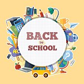 back to school icons set in circle shape