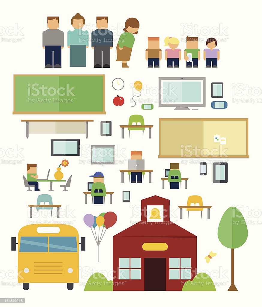 Back to School Icons vector art illustration