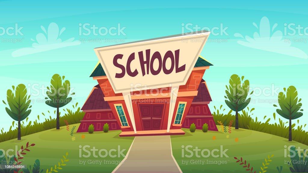 Back To School Illustration Red Building Street Education Fasade