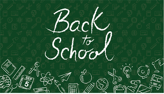 Back to school illustration with a green background and school icons