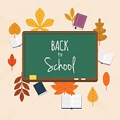 Back to school illustration with books and autumn leafs on the background. Flat design modern vector illustration concept.