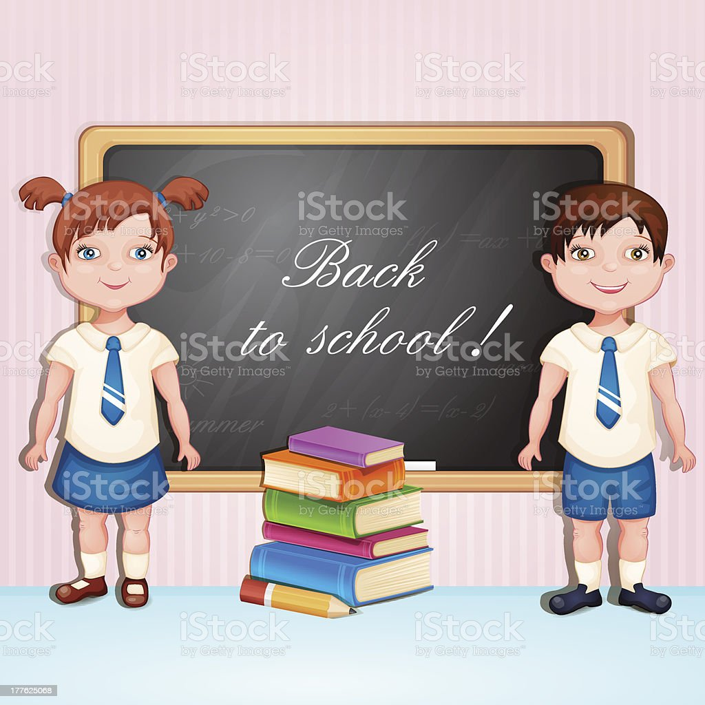 Back to school illustration with boy and girl royalty-free stock vector art