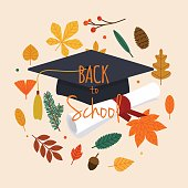 Back to school illustration with graduation cap, diploma and autumn leafs on the background. Flat design modern vector illustration concept.