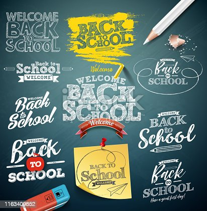 Back to school illustration with typography lettering set on chalkboard background. Vector education concept design collection for greeting card, banner, flyer, invitation, brochure or promotional poster