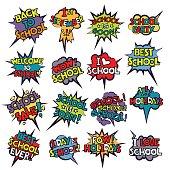 Back to School in comic speech bubbles, pop art style. Education concept. Comic dialog cloud, space cartoon. Set retro school comic bubble halftone dot. Creative idea conversation explosion balloon