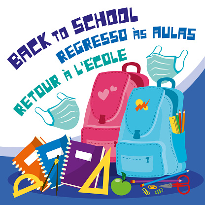 Back To School in English, Portuguese and French Typescript Versions with Objects Set and Face Masks