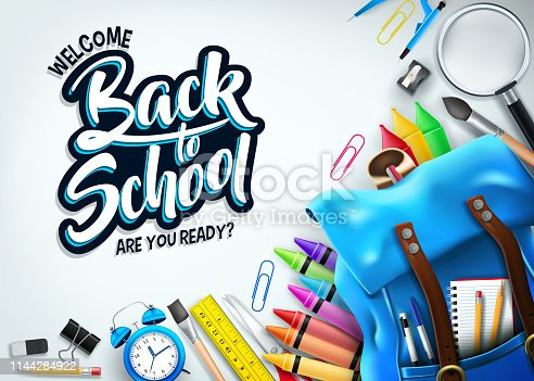 istock Back to School In White Background Banner with Blue Backpack and School Supplies 1144284922