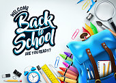 Back to School In White Background Banner with Blue Backpack and School Supplies Like Notebook, Pen, Pencil, Colors, Ruler, Magnifying Glass, Eraser, Paper Clip, Sharpener, Alarm Clock and Paint Brush 3D Realistic Design. Vector Illustration