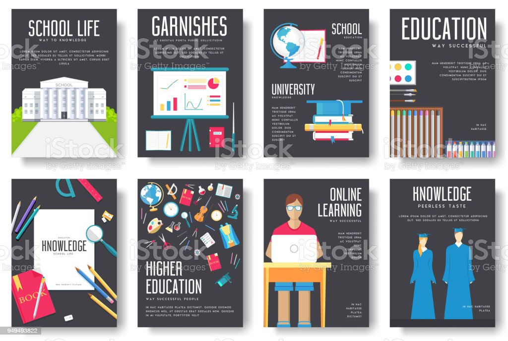 Back to school information cards set. Student template of flyear, magazines, posters, book cover, banners. College education infographic concept background. Layout illustrations modern pages vector art illustration